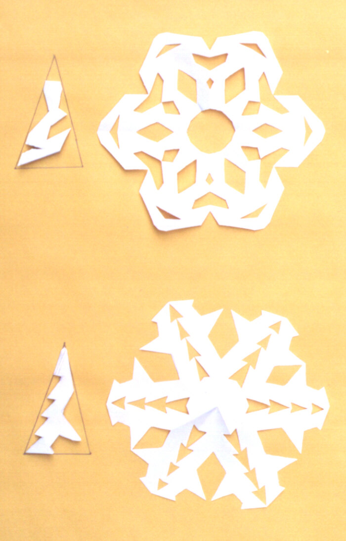 picture of finished paper snowflakes